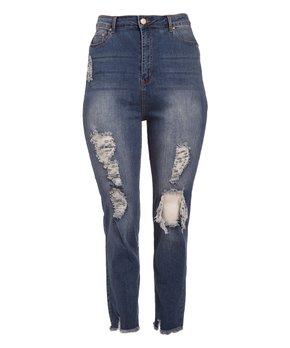 BBA (Big But Adorable) | Medium Blue Distressed High-Waist Classic Jeans - Plus