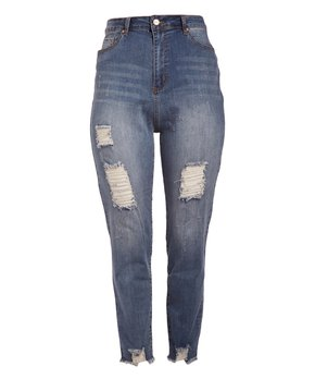 BBA (Big But Adorable) | Light Blue Lightly-Distressed High-Waist Classic Jeans - Plus