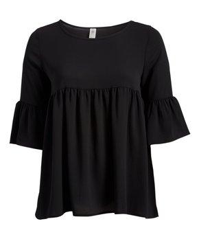 Celeste | Black Arabesque Lace-Up Tunic - Plus