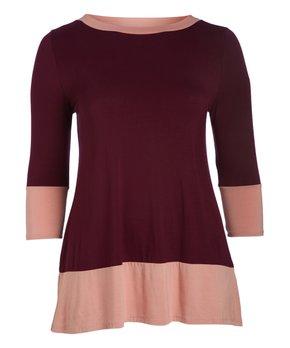 MOA Collection | Purple & Peach Color Block Three-Quarter Sleeve Tunic - Plus