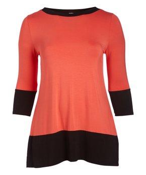 Hot Ginger | Ivory & Coral Stripe Ruffle-Hem Three-Quarter Sleeve Tunic - Plus
