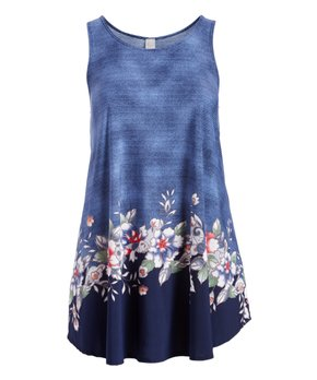 MOA Collection | Jean Blue Floral Curved-Hem Sleeveless Tunic - Plus