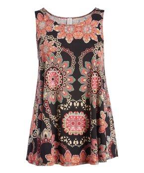 MOA Collection | Black & Pink Paisley Curved-Hem Sleeveless Tunic - Plus