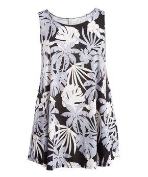 MOA Collection | Black & White Palm Curved-Hem Sleeveless Tunic - Plus