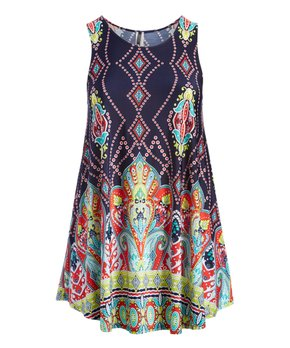 MOA Collection | Navy & Pink Paisley Curved-Hem Sleeveless Tunic - Plus