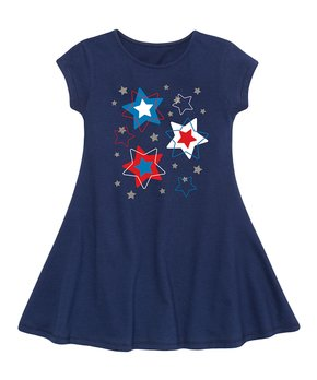 ce83604d45cb Instant Message | Navy Patriotic Stars Glitter Fit & Flare Dress - To…