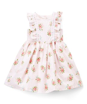 Laura Ashley® | Pink & Green Floral Ruffle-Accent Babydoll Dress – Infant, Toddler & Girls