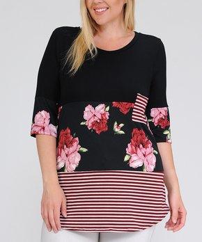Celeste | Black & Pink Floral Pocket Three-Quarter Sleeve Top - Plus