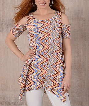 Hot Ginger | Pink & Yellow Abstract Cold Shoulder Asymmetrical Top