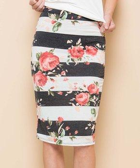 Acting Pro | Black & White Stripe Floral Pencil Skirt – Women & Plus