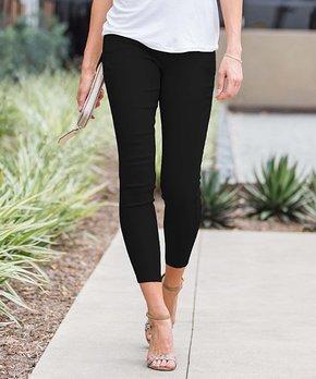 5eb2247e335da0 Amaryllis | Black Crop Faux-Button Pocket Jeggings - Women & Plus