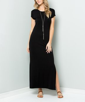 Acting Pro | Black Side-Slit Maxi Dress – Women & Plus