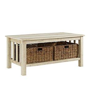 Walker Edison | White Storage Coffee Table