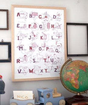 MAPTOTE | Red & Pink Alphabet Poster