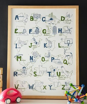 MAPTOTE | Blue & Green Alphabet Poster