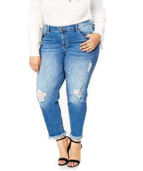 856628a615f Bloomrocks | Medium Blue Century Distressed Long-Fray Skinny Jeans - Plus