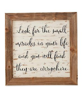 K&K Interiors | 'Small Miracles' Framed Barn Board Wall Sign