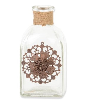 K&K Interiors | Metal Flower Square Glass Bottle