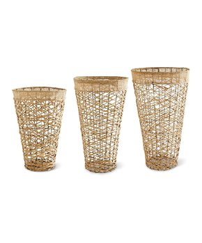 K&K Interiors | Round Crisscross-Detail Planter Set