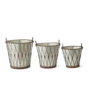 ZiaBella | Round Weathered Metal Two-Piece Wall Planter Set