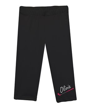 1aaaed2f1dcbc4 Monday's Child | Black & Hot Pink Personalized Capri Leggings - Infan…