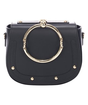 Giulia Massari   Black Studded Ring-Handle Leather Crossbody Bag 9bc0e46b51