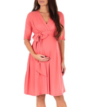 b44035607f14 Mother Bee Maternity | Coral Maternity Wrap Dress