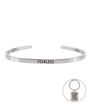 Pink Box Courage is Fear 8Mm Cuff Silver