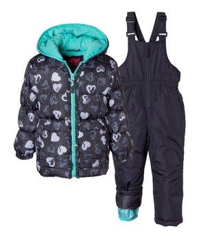 cad4597b Pink Platinum | Navy Heart Puffer Coat & Snow Bib - Toddler