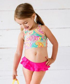 Viv & Lou   Summer Paisley Monogram Ruffle Bikini Top & Bottoms – Toddler & Girls