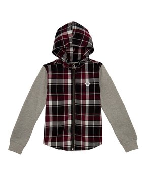 a5c607429 True Religion | Maroon & Gray Plaid Zip-Up Hoodie - Toddler & Boys