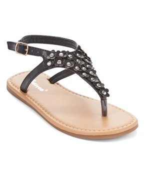 Ositos Shoes | Black Flower Stud T-Strap Sandal - Girls