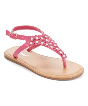 Ositos Shoes | Fuchsia Flower Stud T-Strap Sandal - Girls