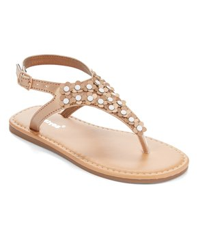 Ositos Shoes | Rose Gold Flower Stud T-Strap Sandal - Girls