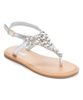 Ositos Shoes | Silver Flower Stud T-Strap Sandal - Girls