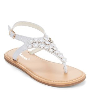 Ositos Shoes | White Flower Stud T-Strap Sandal - Girls