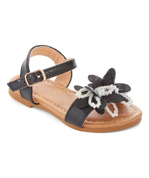Ositos Shoes | Black Flower Bead Sandal - Girls