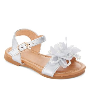 Ositos Shoes | Silver Flower Bead Sandal - Girls