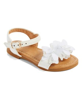 Ositos Shoes | White Flower Bead Sandal – Girls