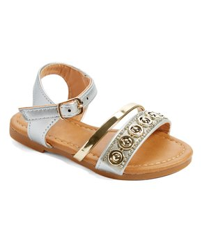 Ositos Shoes | Silver Circle-Accent Sandal - Girls