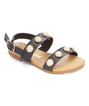 Ositos Shoes | Black Lustrous-Accent Sandal - Girls