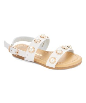 Ositos Shoes | White Lustrous-Accent Sandal - Girls