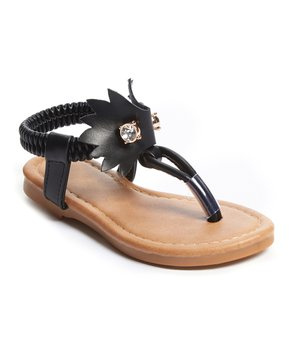 Ositos Shoes | Black Pin T-Strap Sandal - Girls