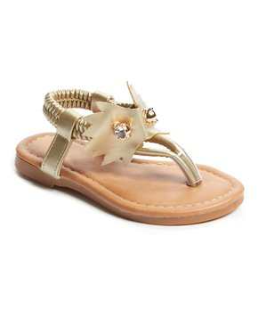 Ositos Shoes | Gold Pin T-Strap Sandal - Girls