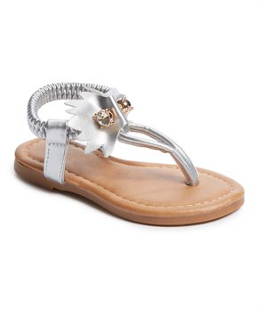 Ositos Shoes | Silver Pin T-Strap Sandal - Girls