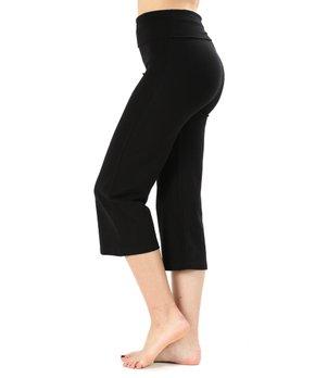 6b0d10c9f3c18 Zenana | Black Fold-Over Waist Crop Yoga Pants - Women