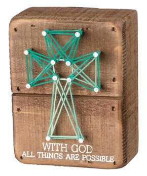 Primitives by Kathy | 'With God All Things Are Possible' String Art Block Sign