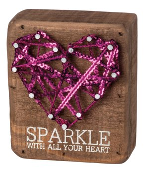 Primitives by Kathy | 'Sparkle With All Your Heart' String Art Block Sign