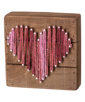 Primitives by Kathy | Pink Heart String Art Block Sign