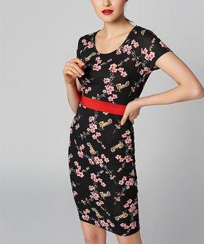 f97b03b4 BRC Moda | Black & Red Floral Sheath Dress - Women · all gone